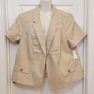 Roz and Ali Size 3 Beige Short Sleeve Open Front J